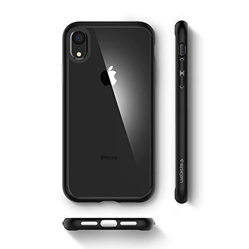 Spigen Ultra Hybrid, iPhone XR Hülle, 064CS24874 Einteilige Transparent Handyhülle Durchsichtige PC Rückschale mit Silikon Bumper Schutzhülle Case (Matte Black) - 7