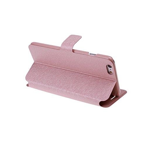 ele ELEOPTION iPhone 7 Case und iPhone 8 Hülle Schutzhülle Leder Hülle mit Standfunktion und Karte Halter (iPhone 7 und iPhone 8, Champagner-Rosa) - 3
