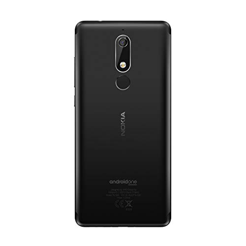 Nokia 5.1 Version 2018 Smartphone (13,97 cm (5,5 Zoll) HD+ Dislplay, 16GB, 2GB RAM, 16MP Kamera, langlebiger Vollalurahmen, Android Oreo, Dual SIM, Amazon Edition inkl. Displayschutzfolie) schwarz - 2